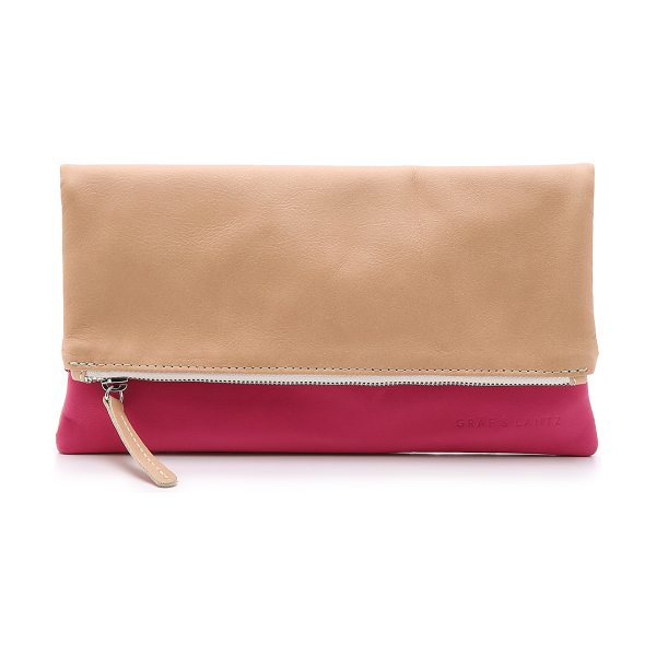Graf & Lantz Jodie pouch in nude/hot pink - A 2 color Graf & Lantz clutch rendered in wrinkled...