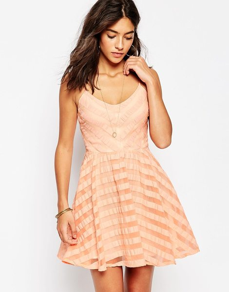 Greylin Finley lace up back skater dress in peach - Casual dress by Greylin Lined, woven fabric Sheer stripe...