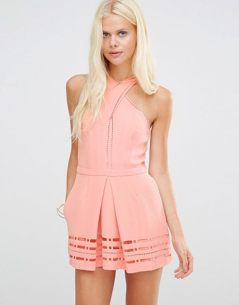 Greylin Millany Laser Cut Romper in pink - Playsuit by Greylin, Herringbone textured fabric, High...