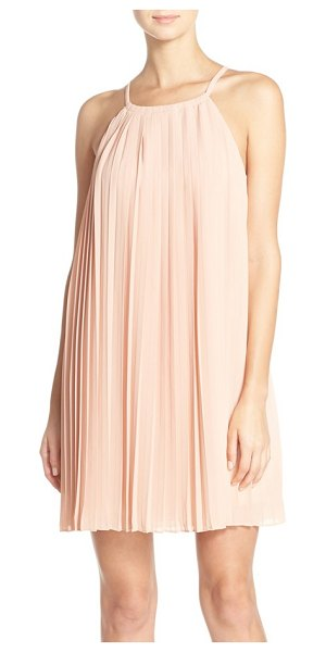 Greylin pleated trapeze dress with lace back in blush - Floral lace detailing at the back heightens the romantic...