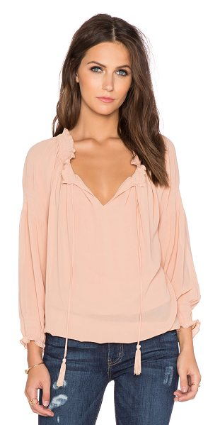 Greylin Silvie smocked blouse in blush - Poly blend. Hand wash cold. Neckline keyhole with tie...