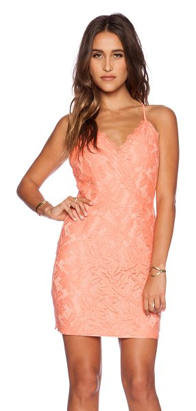 Greylin Stasia floral lace dress in coral - Self: 51.2% cotton 25.4% rayon 23.4% nylon Lining: 96%...
