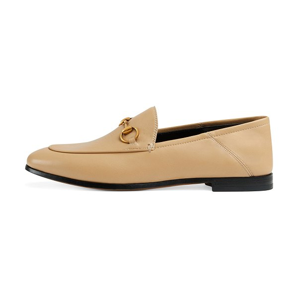 """Gucci 10mm Brixton Leather Loafer in wheat - Gucci leather loafer. 0.5"""" stacked heel. Round toe...."""