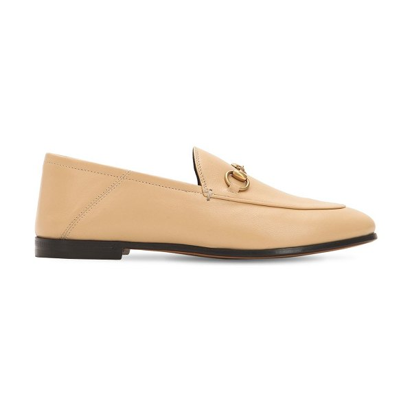 Gucci 10mm brixton leather loafers in beige
