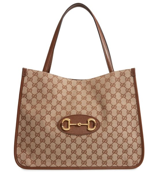 Gucci 1955 horsebit gg original canvas tote in beige