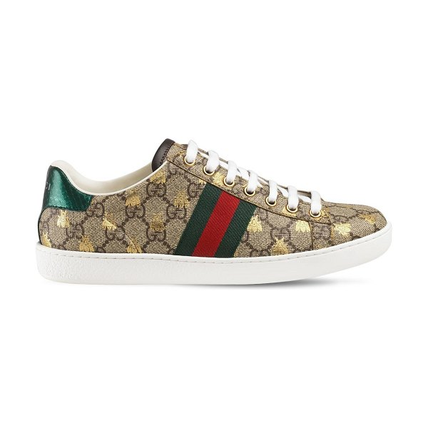 Gucci 20mm new ace gg supreme canvas sneakers in beige/green - 20mm Rubber sole. Reinforced eyelets. Canvas upper....