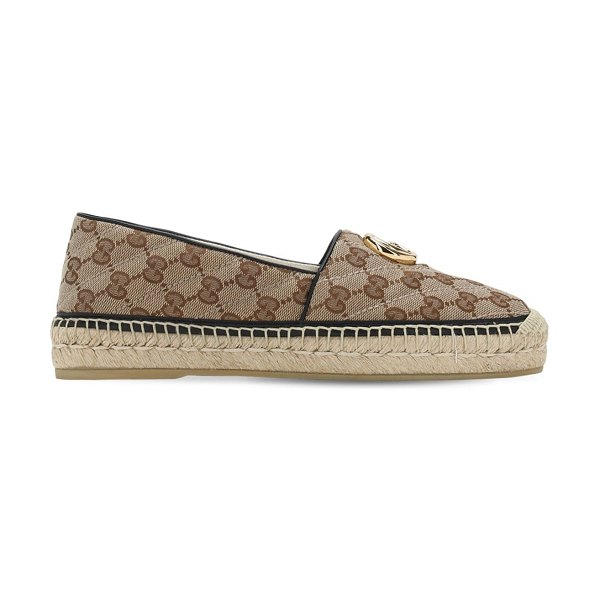 Gucci 20mm pilar quilted canvas espadrilles in brown,black