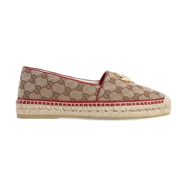 Gucci 20mm pilar quilted canvas espadrilles in brown,red