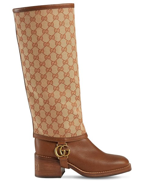 Gucci 50mm lola leather & canvas boots in beige - 50mm Logo studded heel. Leather upper. Detachable cotton...