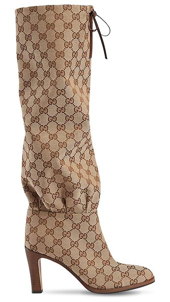 Gucci 85mm gg supreme canvas boots in beige