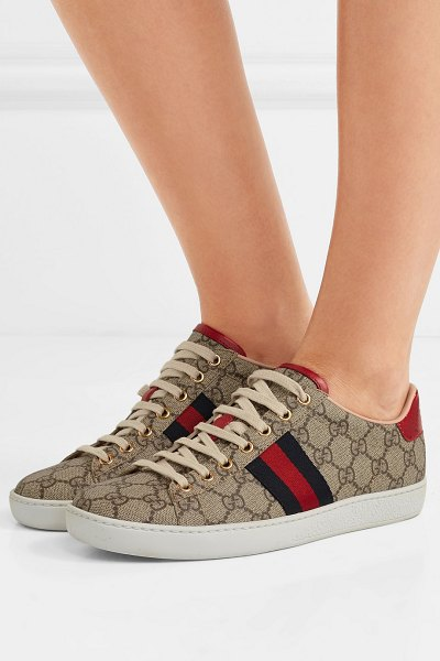 Gucci ace gg supreme metallic watersnake-trimmed logo-print coated-canvas sneakers in beige - Alessandro Michele and his team must have really clocked...