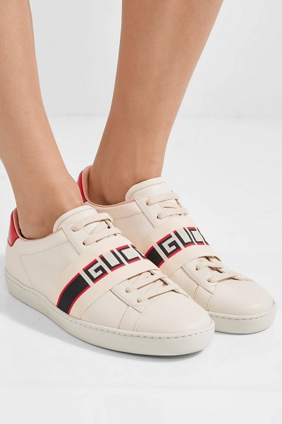 Gucci ace jacquard-trimmed logo-embossed leather sneakers in cream