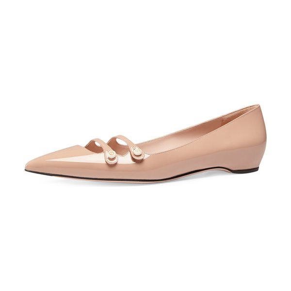 "Gucci Aneta double-strap patent flat in pink apricot - Gucci patent leather flat. 0. 5"" flat heel. Pointed toe...."