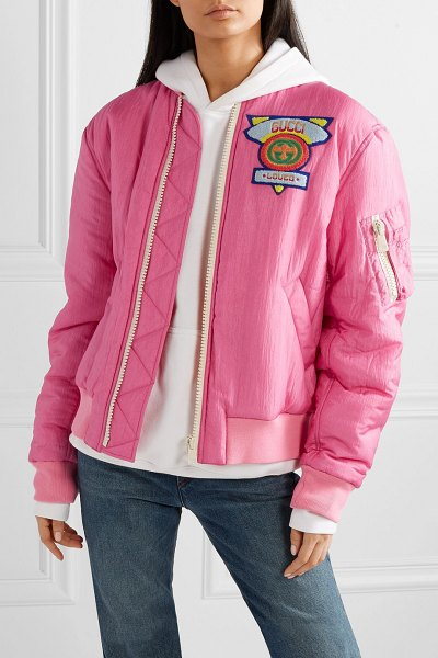 Gucci appliquéd satin-shell bomber jacket in pink - Every woman needs a bomber jacket that she can instantly...