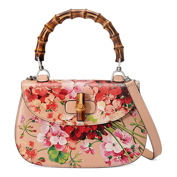 Gucci Bamboo Classic Blooms Small Top-Handle Bag in nude with blooms - Gucci blooms print leather top-handle bag. On mould...