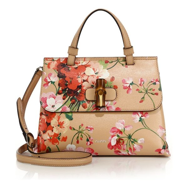 "Gucci Bamboo daily blooms top-handle bag in apricot-ivory - Leather top handle, 3"" dropAdjustable and detachable..."