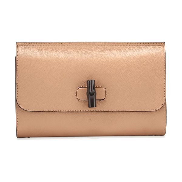 Gucci Bamboo Daily Leather Clutch Bag in camel - Gucci pebbled leather clutch bag with hand-painted...