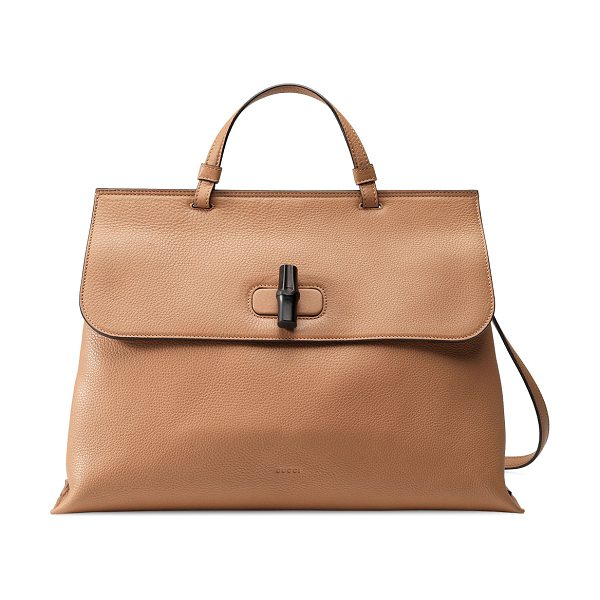 GUCCI Bamboo Daily Leather Top Handle Bag - Gucci leather top handle bag. Palladium hardware. Top...