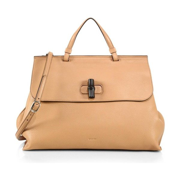 Gucci bamboo daily leather top handle bag in petal pink - Leather. Tone-on-tone baiadera cotton linen lining....