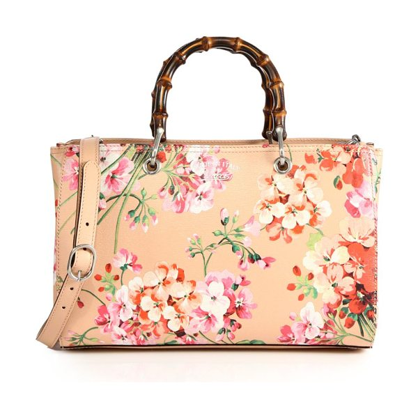 """GUCCI bamboo shopper blooms leather tote in pink apricot - Double bamboo handles, 4.5"""" drop. Detachable and..."""
