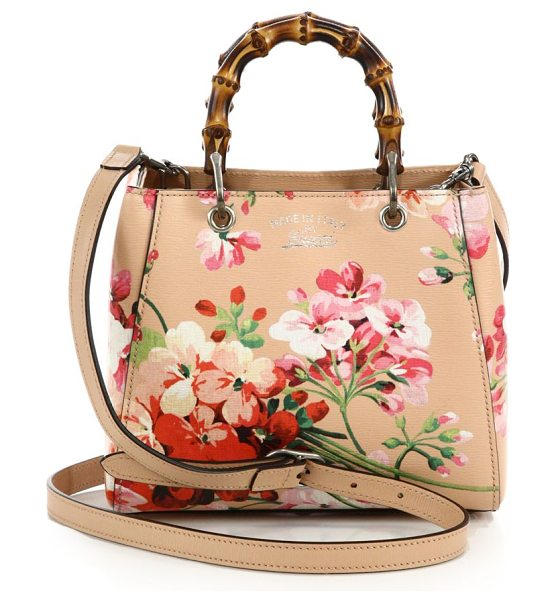 "GUCCI bamboo shopper mini blooms bag in apricot-rose - Double bamboo handles, 3"" drop. Detachable and..."