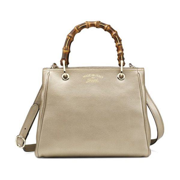 Gucci Bamboo shopper small tote in champagne - Metallic leatherLight fine goldtone hardwareNatural...