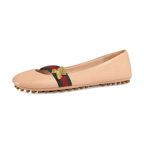 "GUCCI Bayadere leather web ballerina flat - Gucci napa leather ballerina flat. 0. 3"" flat heel...."