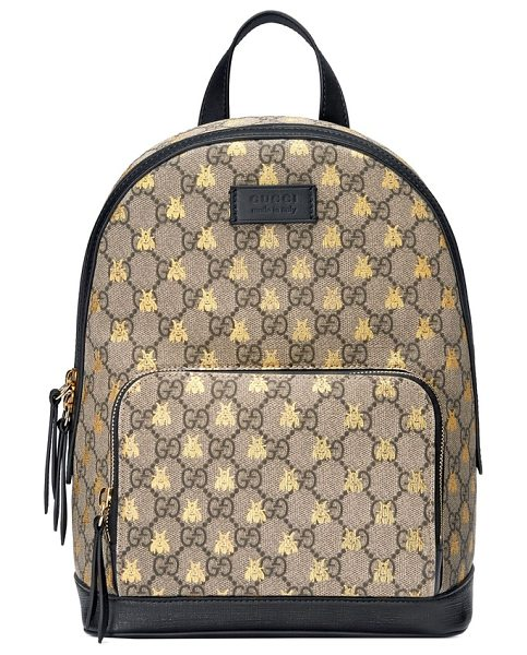 GUCCI bee gg supreme canvas backpack - Crafted from iconic GG-print canvas gilded with playful...