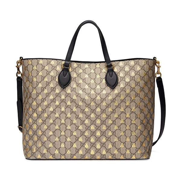 Gucci Bestiary GG Supreme Medium Top-Handle Tote Bag in black/brown - Gucci GG supreme canvas tote bag with gold bees print....