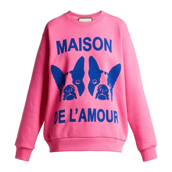 Gucci bosco and orso printed cotton jersey sweatshirt in pink - Gucci - Bosco and Orso, the beloved companions of...