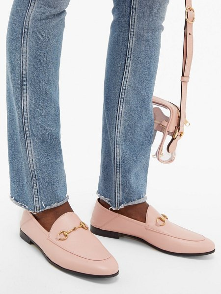 Gucci brixton collapsible heel leather loafers in pink
