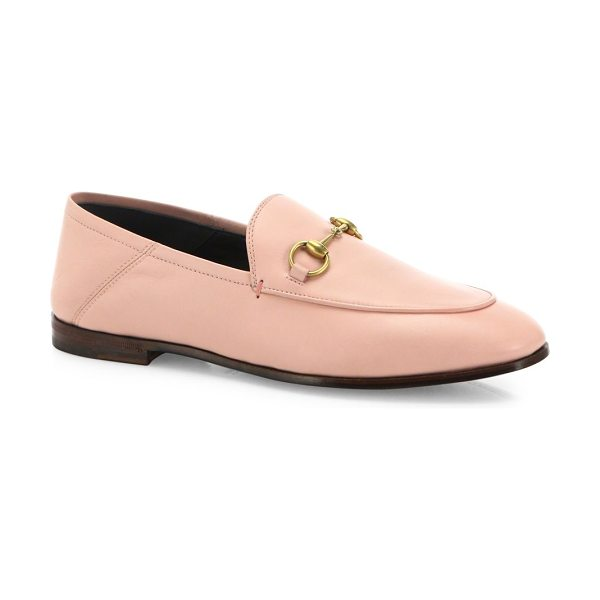 Gucci brixton foldable leather loafers in pink - Designed to be worn with the heel folded down as a...