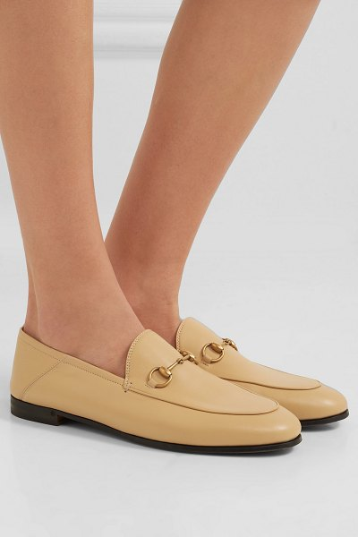 Gucci brixton horsebit-detailed leather collapsible-heel loafers in sand - This season it's all about neutral hues - from light...