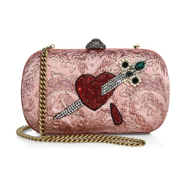 "Gucci broadway brocade embroidered clutch in pink - Removable chain shoulder strap, 25"" drop. Top..."