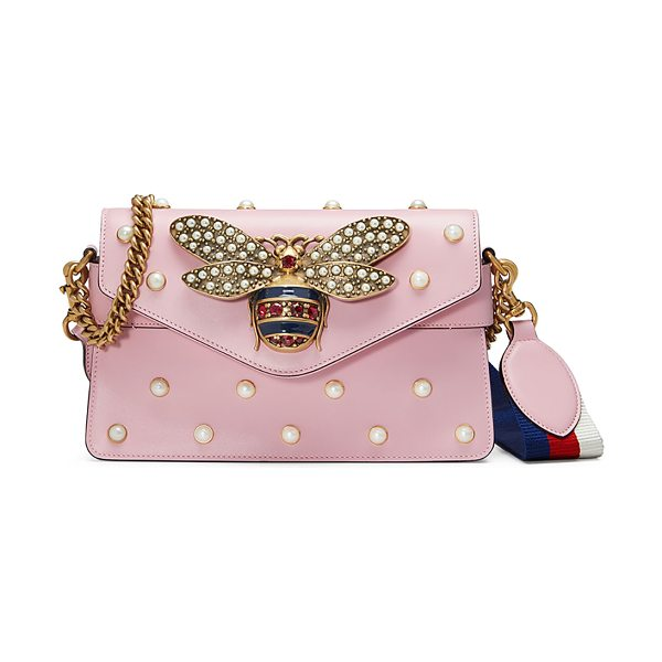 GUCCI Broadway Pearly Bee Shoulder Bag in pink - Gucci leather shoulder bag with allover pearly studs....