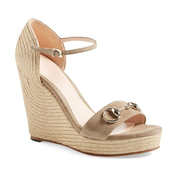 Gucci carolina ankle strap wedge in taupe suede - Signature horsebit hardware brands a sky-high wedge...
