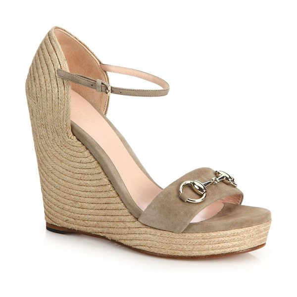 "GUCCI carolina suede espadrille wedge sandals in taupe - Espadrille wedge heel, 4"" (100mm).Platform, 1""..."