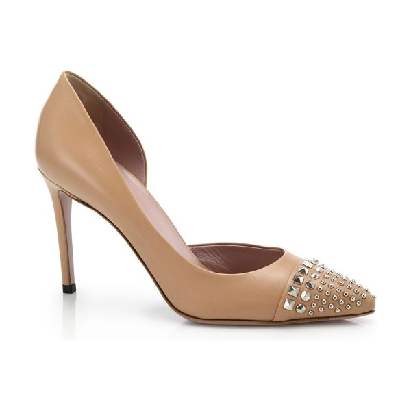 "Gucci Coline stud pumps in camel - Self-covered heel, 3"" (75mm)Leather upperPoint toe with..."