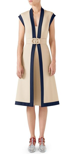 Gucci contrast trim belted dress in almond flower/ royal - A wide belt anchored by a glossy double-G logo cinches...