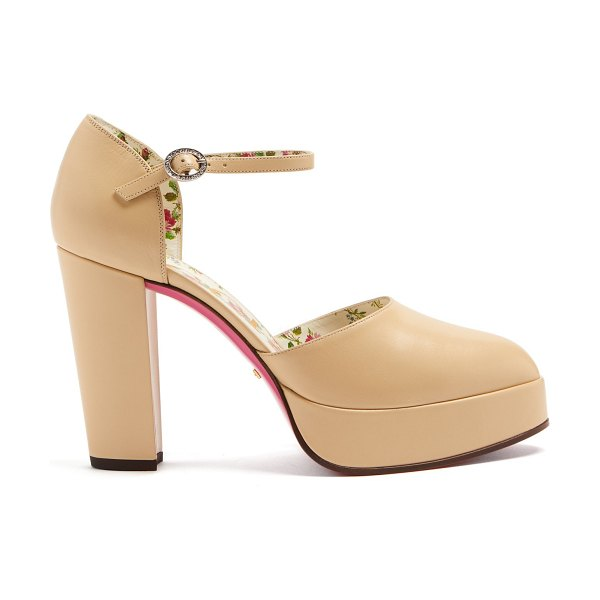 Gucci Crystal-embellished leather platform pump in nude - These light-beige leather Gucci pumps grounded numerous...