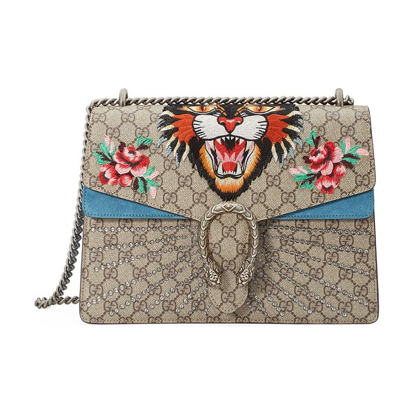 Gucci Dionysus Angry Tiger Bag in neutral pattern - Gucci GG supreme canvas shoulder bag with suede trim....