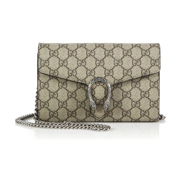 Gucci Dionysus coated canvas chain-strap wallet in beigeebony-black - Compact yet versatile, this chain-strap wallet is...