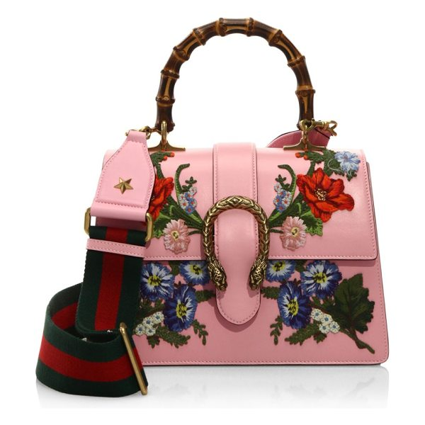 "GUCCI dionysus embroidered leather top handle bag - Bamboo handle, 4"" drop. Removable, adjustable blue and..."