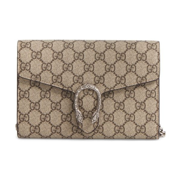 Gucci dionysus gg supreme canvas wallet on a chain in beige ebony/taupe - Gucci's distinctive tiger-head spur highlights this GG...