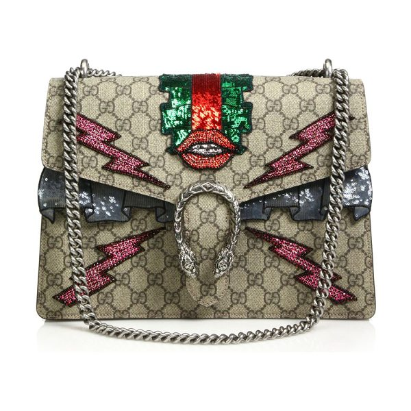 """GUCCI dionysus gg supreme embroidered bag in beige-multi - Chain shoulder strap, 8.5""""-15"""" drop. Sliding chain can..."""