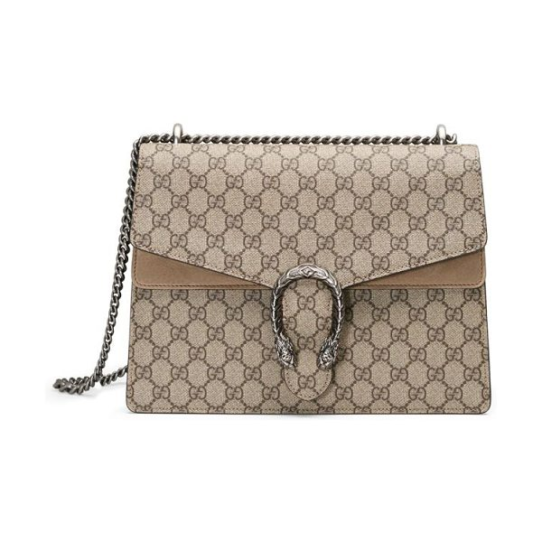 Gucci dionysus gg supreme medium canvas shoulder bag in beigeebony-taupe - A textured tiger head spur adds an ornamental touch to...