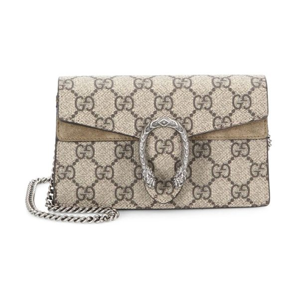 "Gucci dionysus gg supreme mini chain shoulder bag in taupe - Removable chain shoulder strap, 23.5"" drop. Snap-flap..."