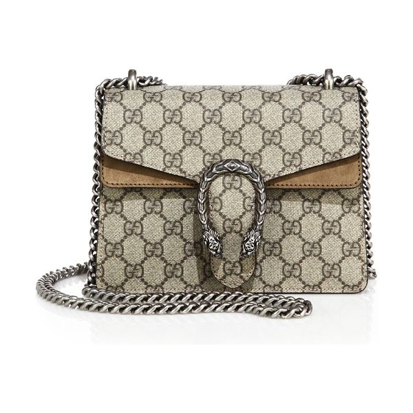 GUCCI dionysus gg supreme mini bag - GG Supreme canvas bag with suede trim. Sliding chain...
