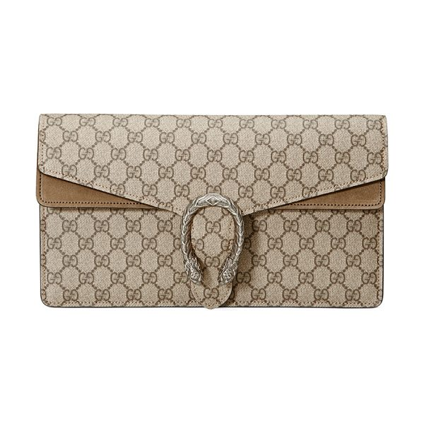 GUCCI Dionysus GG Supreme Small Clutch Bag in taupe - Gucci GG supreme canvas clutch bag with suede trim....