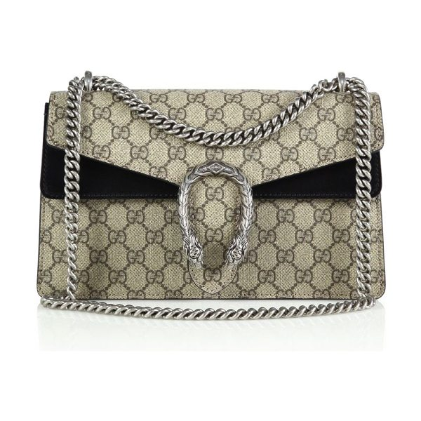Gucci dionysus gg supreme small coated canvas shoulder bag in beigeebony-black - Crafted from signature coated canvas made using an...